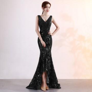 連身裙V領宴會長款晚禮服