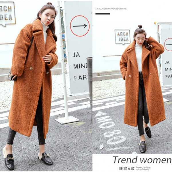 Faux fur silhouette coat